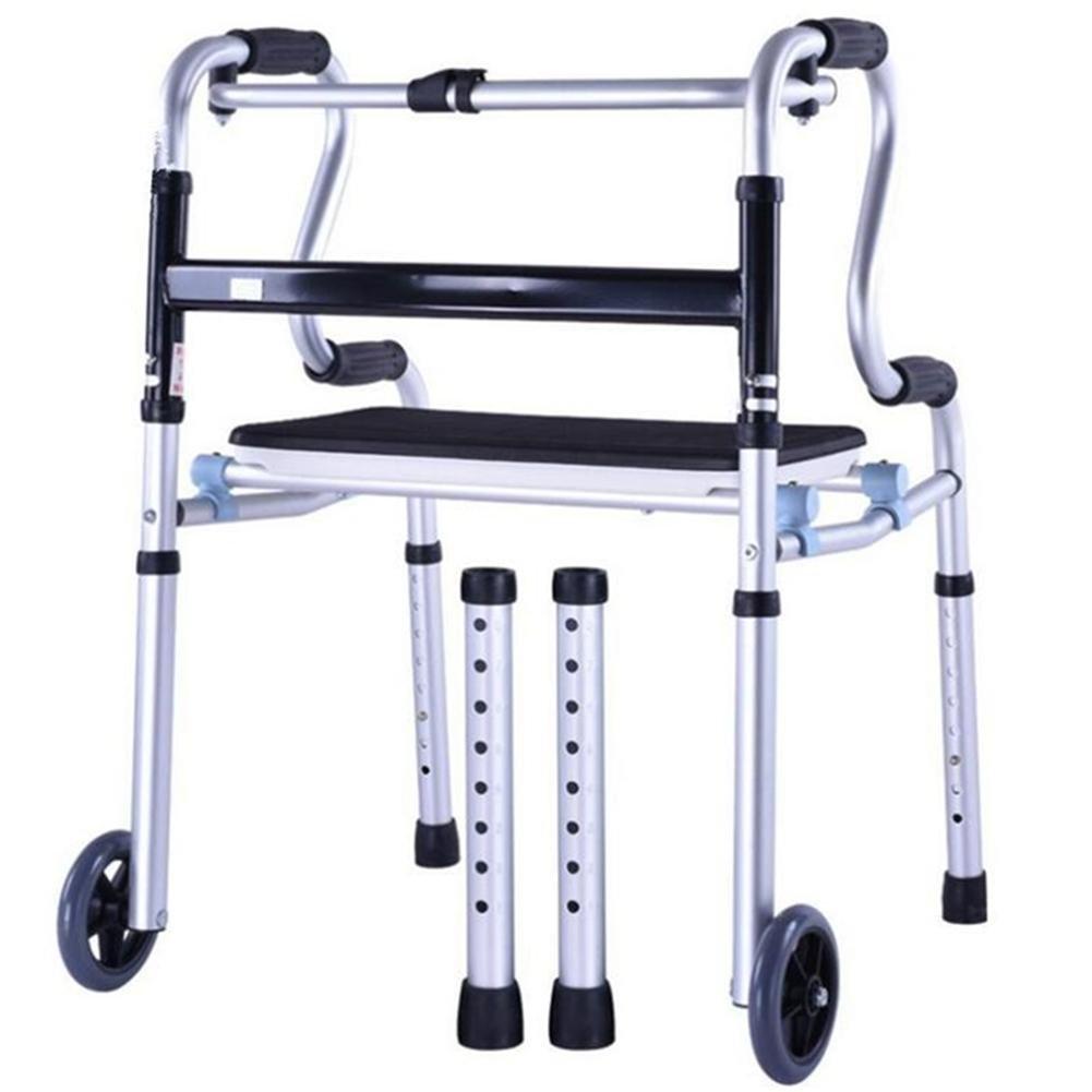 Frame walker Height adjustable Folding Walker Aluminum Alloy Pulley Elderly People Disabled Person Walking Rehabilitation Equipment Bathroom Bath Chair