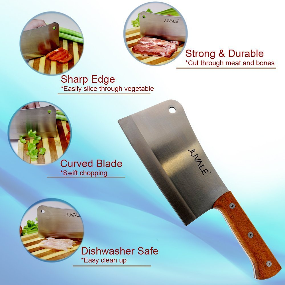 Juvale Stainless Steel Heavy Duty Meat Cleaver/Chopper/Butcher Knife - Solid Wood Handle - Professional Quality - for Home & Restaurant Use - 8 Inches by Juvale (Image #5)