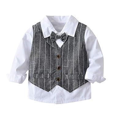 e527a7527a4d3 Ensemble de Costume 4PC, Enfant Bébé Chemise à Manches Longues - Gilet Gris  - Pantalon