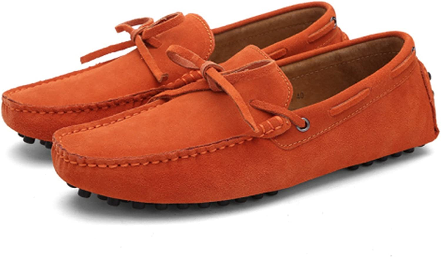 Hangshushiy Summer Spring Men Driving Shoes Loafers Leather Boat Shoes Breathable Male Casual Flats
