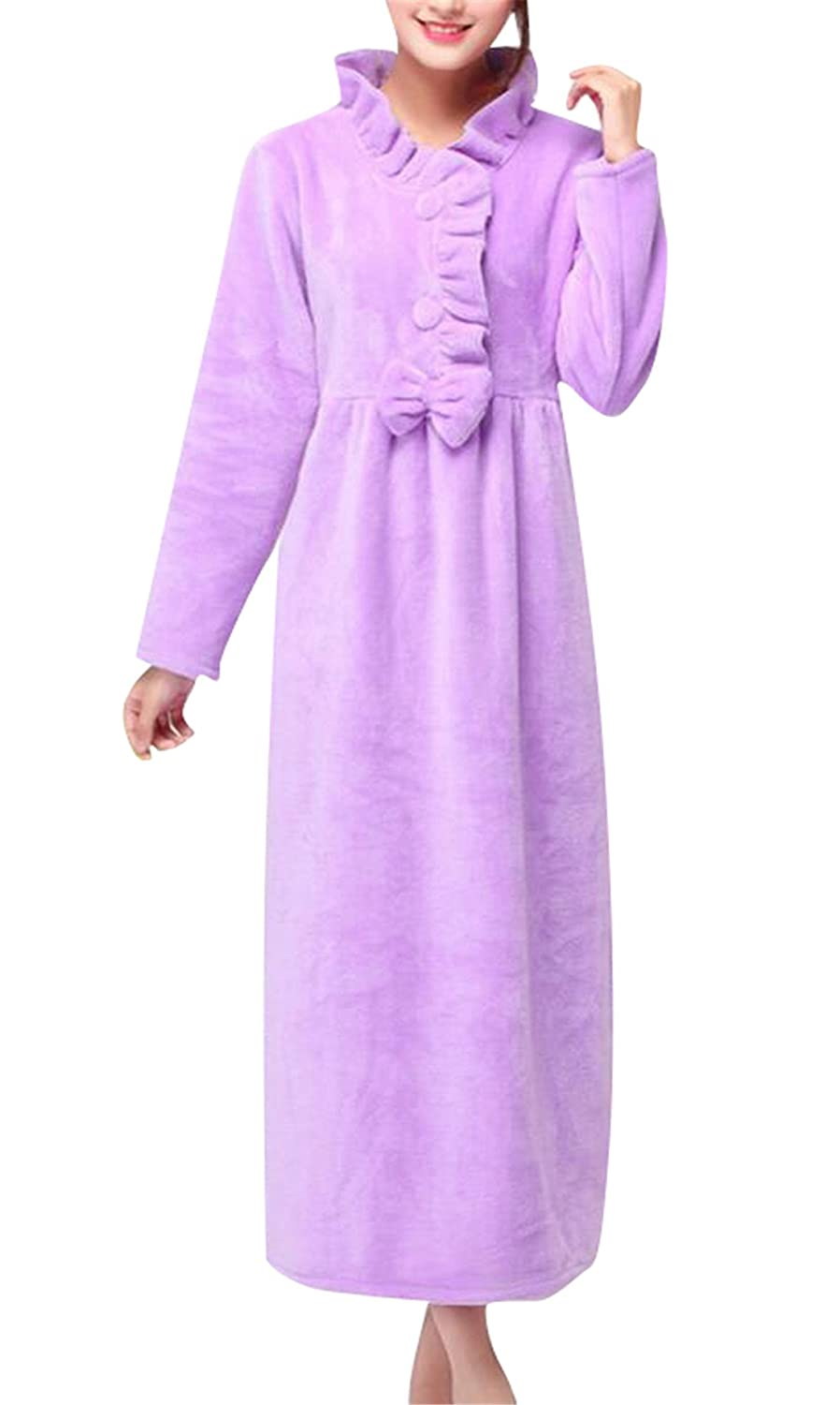 Domple Women's Pajamas Long Nightgown Fleece Sleepwear Dress