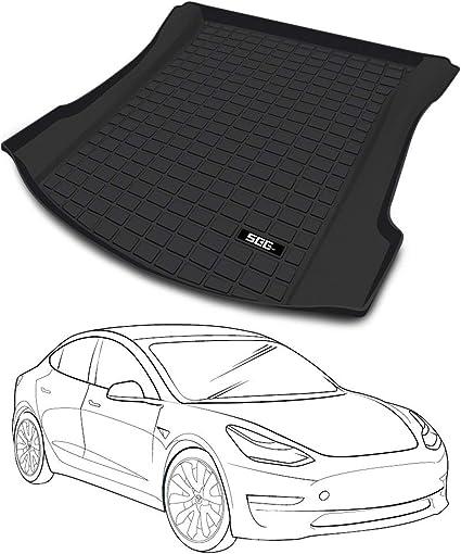 SEG Direct Kofferraummatte angepasst f/ür Tesla Model 3 Staubdicht Geruchlos Kratzfest Waschbar Robust SchwerlastAll Wetter Schwarz