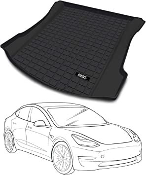 TAPTES Tesla Model 3 Rear Trunk Mat Customized All Weather Waterproof Odourless Fit Trunk Mat for Tesla Accessories Black