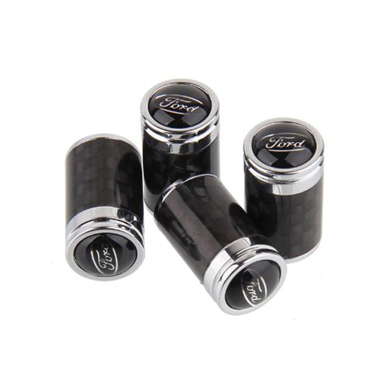 4pcs Carbon Fiber Auto Car Wheel Tire Air Valve Caps Stem Cover fit for Ford