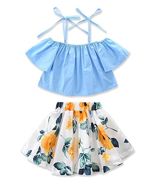 6a1004bcc Amazon.com: Toddler Baby Girls Strap Off The Shoulder Tops+Floral Skirt 2  Pcs Outfit Set: Clothing