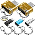 5 pcs Type-C Adapters with Keychains, AFUNTA USB-C (Male) to Micro USB and USB 2.0 (Female) with Micro USB 2.0 OTG, Type C Convert Connector Fast Charger for Samsung S8 New Macbook Pixel XL Nexus