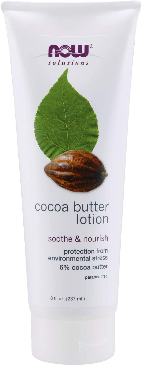 NOW Solutions, Cocoa Butter Lotion for Dry and Flaky Skin, with Aloe Vera, Allatonin and Almond Oil, 8-Ounce