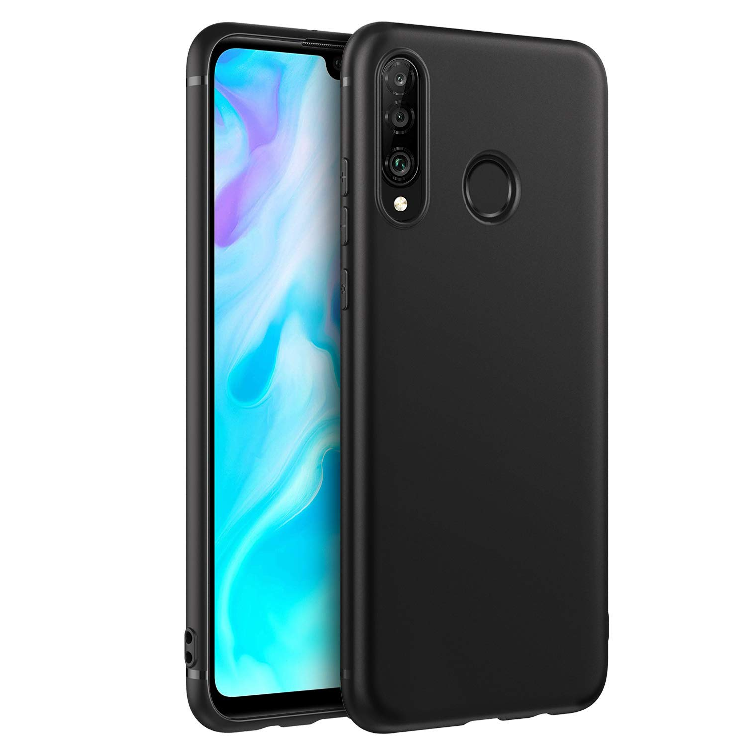 EasyAcc Case for Huawei P30 Lite, Matte Black TPU Slim Basic Phone Case Finish Profile Soft Ultra Thin Fit Back Protective Cover Compatible with ...