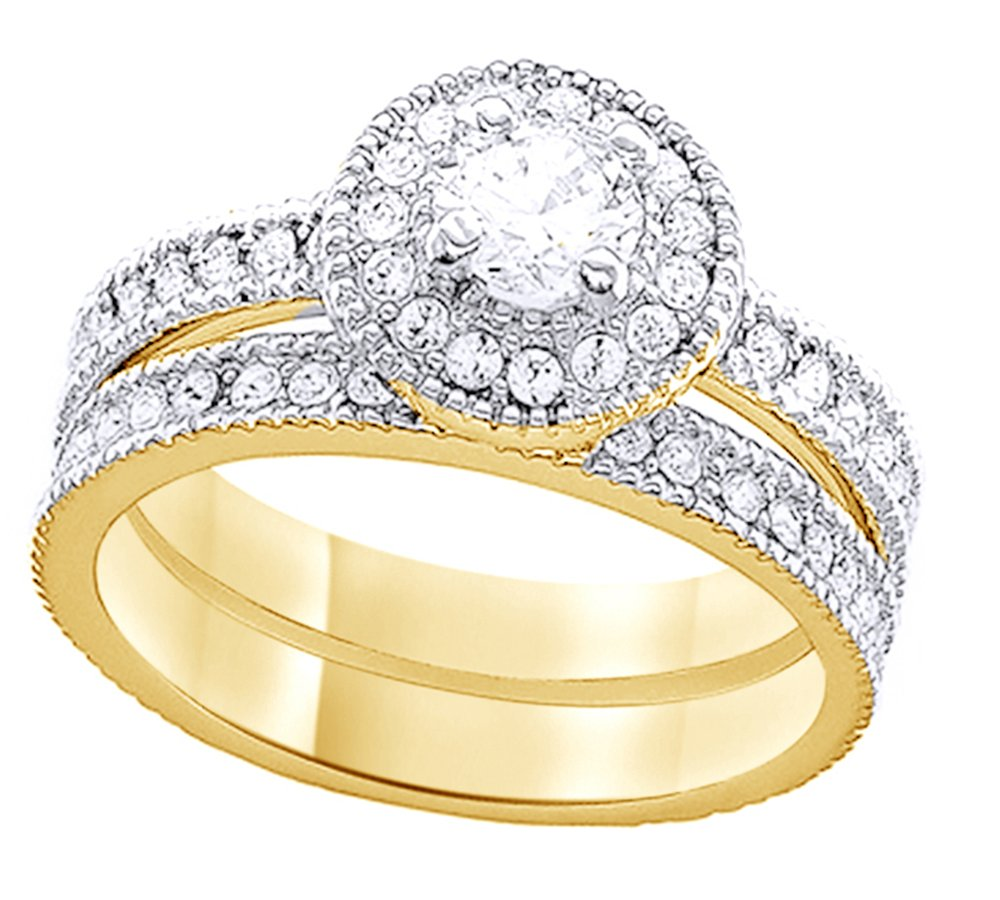 Jewel Zone US White Cubic Zirconia Engagement & Wedding Halo Bridal Ring Set in 14K Yellow Gold Over Sterling Silver (0.79 Cttw)