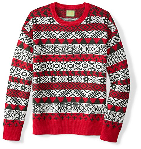 Ugly Fair Isle Unisex Jacquard Crewneck Christmas Sweater Medium Red/White/Deep Green - Fair Isle Crewneck Sweater