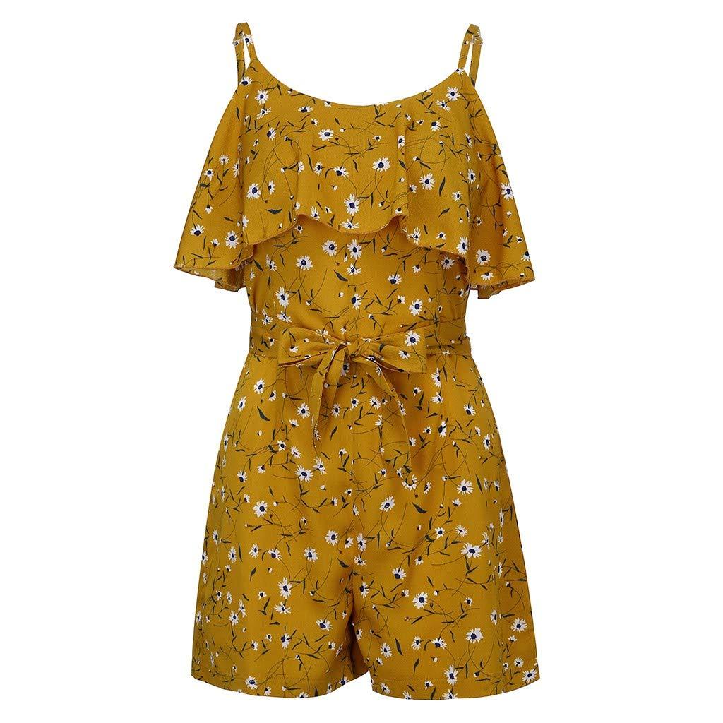 Combinaison de Femmes sans Manches Haut Col Rond Floral Mini Combishort Dames D/ét/é Shorts Jumpsuit Ba Zha Hei