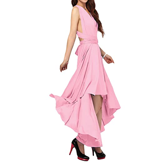7743e5867db07 Women's Convertible Multi Way Evening Dress Transformer/Wrap Cocktail  Homecoming Hi-Lo Maxi Gown