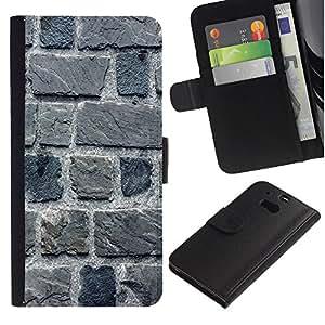 Paccase / Billetera de Cuero Caso del tirón Titular de la tarjeta Carcasa Funda para - Stone Wall Gray House Building Macro - HTC One M8