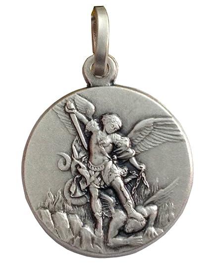 60a0b5a0dca Medalla de San Miguel Arcángel En Plata Maciza 925  Amazon.es  Joyería