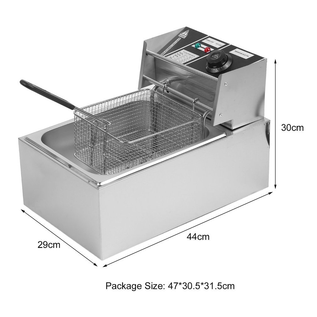 Belovedkai Electric Deep Fryer, 13L/26L Stainless Steel Commercial Electric Deep Fat Fryer Temperature Control Timing Fryer with Drain & Basket,Single Tank/Dual Tank (10L Single Basket) by Belovedkai (Image #9)