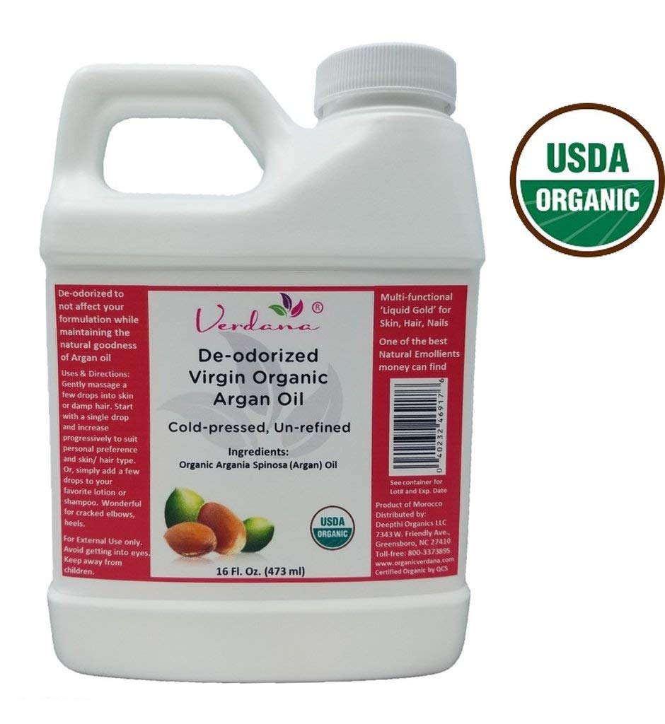 Organic Verdana USDA Certified Organic Argan Oil, Unrefined, Deodorized, Cold Pressed, 16 Fl. Oz. - Deepthi Organics