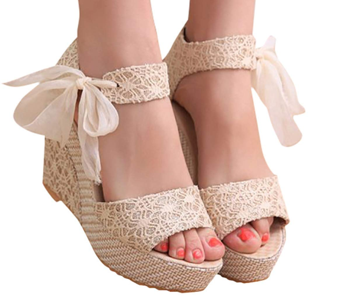 Hemlock Women Popular Wedge Sandals High Heel Sandals Platform Sandals Lace Sandals Ladies Outdoor Sandals Shoes