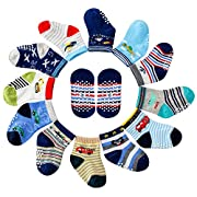 Maybox 12 Pairs Assorted Non Skid Ankle Cotton Socks Baby Walker Boys Toddler Anti Slip Stretch Knit Footsocks Sneakers Crew Socks With Grip For Baby Boy (6-12 Months)