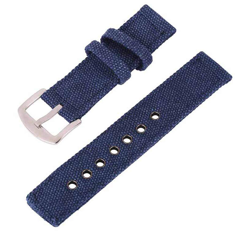 20mm Navy Blue Canvas Watch Strap for Men and Women 2 Piece NATO Straps Premium Watch Bands Replacement