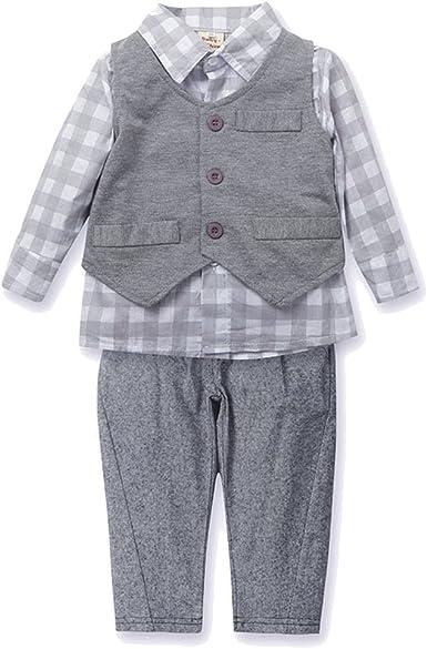MissChild Bebé Niño Ropa Camisa de Manga Larga + Chaleco + Pantalones de Tirantes Conjunto de Caballeros de Otoño: Amazon.es: Ropa y accesorios