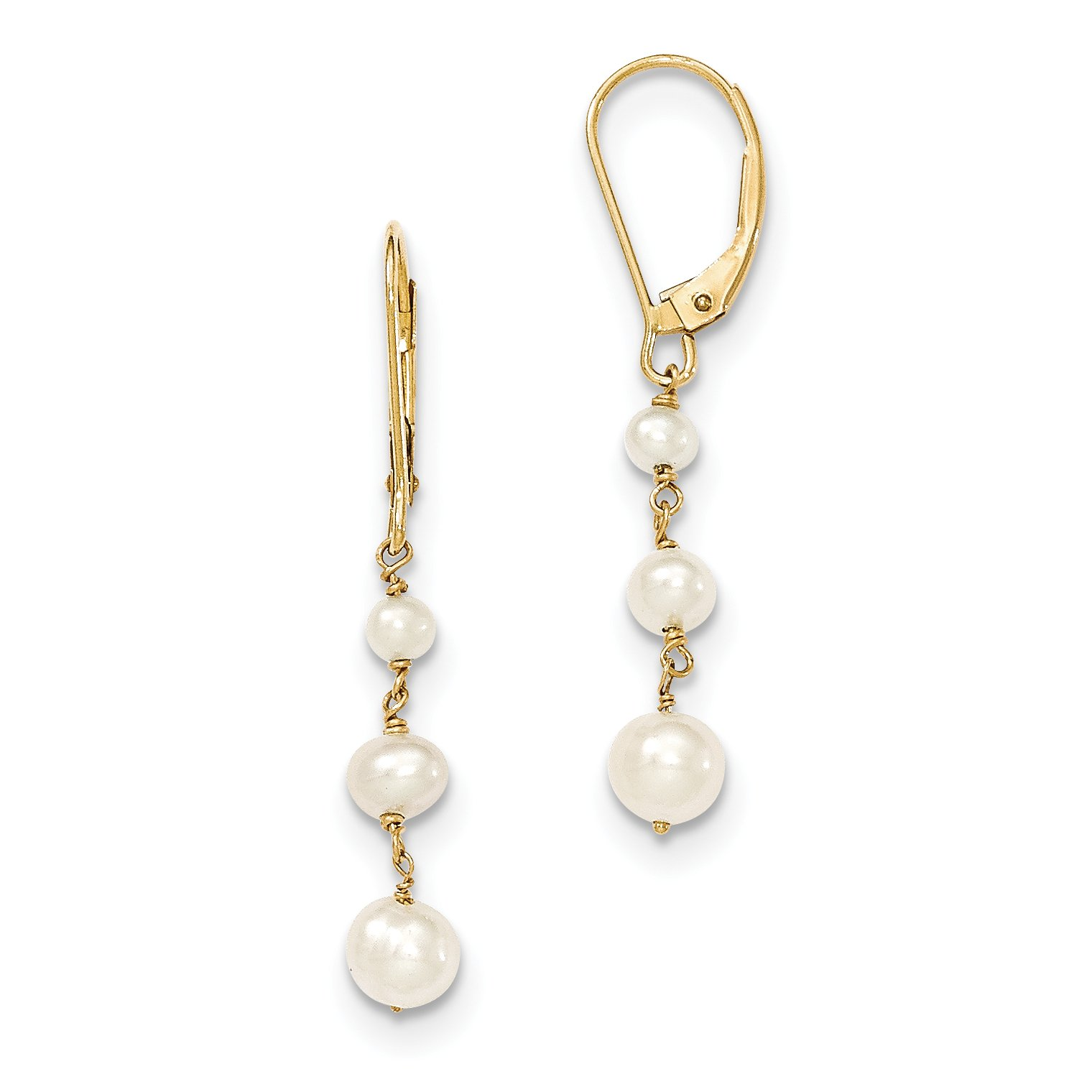 ICE CARATS 14k Yellow Gold Freshwater Cultured Pearl Drop Hinged Hoop Dangle Fine Jewelry Gift Set For Women Heart