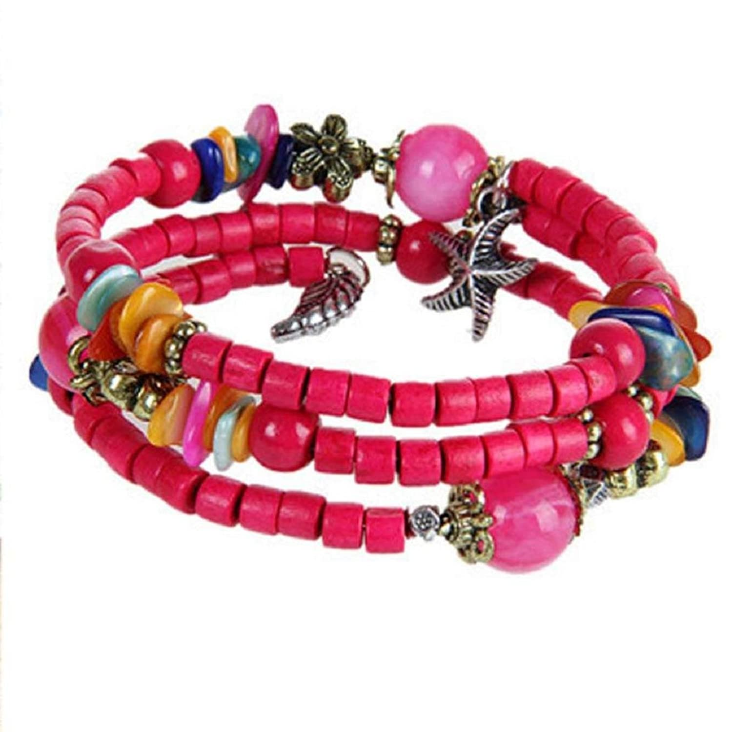 SusenstoneWomen Multilayer Wooden Bracelets (Hot Pink)