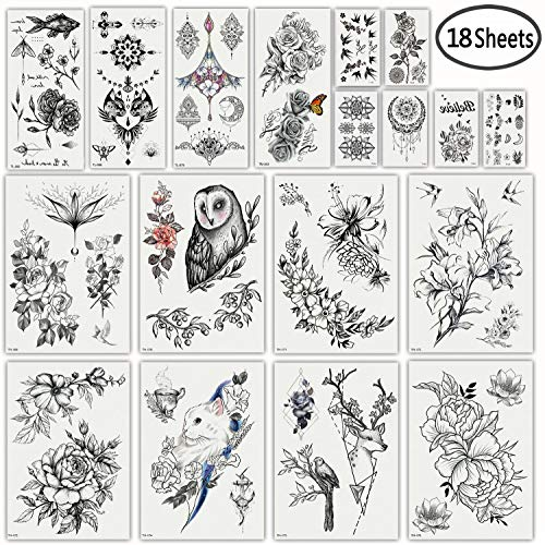 DaLin Sexy Floral Temporary Tattoos for Women Men Black Rose Flowers Collection]()