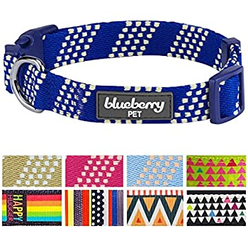 "Blueberry Pet 8 Patterns Artisan Crochet Inspired Endless Squares Dog Collar, Navy Blue and Ivory, Medium, Neck 14.5""-20"", Adjustable Collars for Dogs"