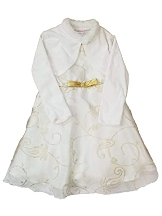 d7790b8620 Amazon.com: Infant Toddler White Gold Tulle Fancy Christmas Holiday ...