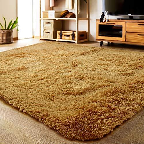 LOCHAS Soft Indoor Modern Area Rugs Fluffy Living Room Carpets Suitable for Children Bedroom Decor Nursery Rugs 4 Feet by 5.3 Feet (Khaki)