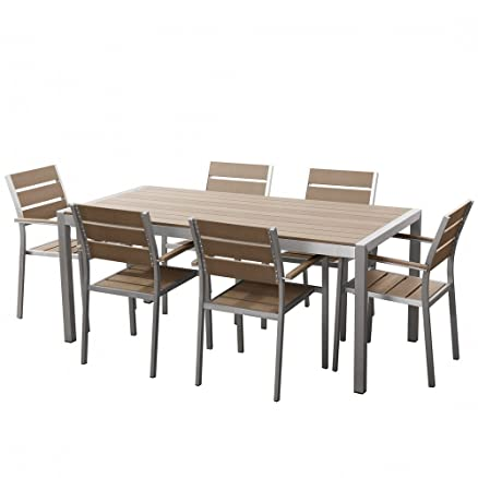 Set di tavolo e sedie da giardino - Alluminio - Poliwood - Marrone ...