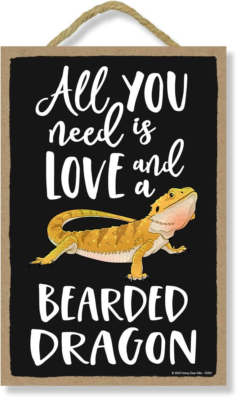 Honey Dew Gifts All You Need is Love and a Bearded Dragon Funny Wooden Home Decor for Pet Reptiles Lovers, Hanging Decorative Wall Sign, 7 Inches by 10.5 Inches