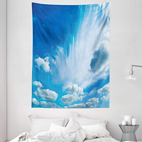 Ambesonne Landscape Tapestry, Sky with Floating Clouds Summer Time Sunny Atmosphere Picture, Wall Hanging for Bedroom Living Room Dorm Decor, 60 X 80 , White Blue