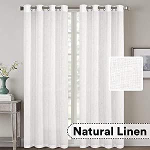 Living Room Linen Curtains Home Decorative Nickel Grommet Curtains Privacy Added Energy Saving Light Filtering Window Treatments Draperies for Bedroom, White, 2 Panels, 52 x 96 - Inch
