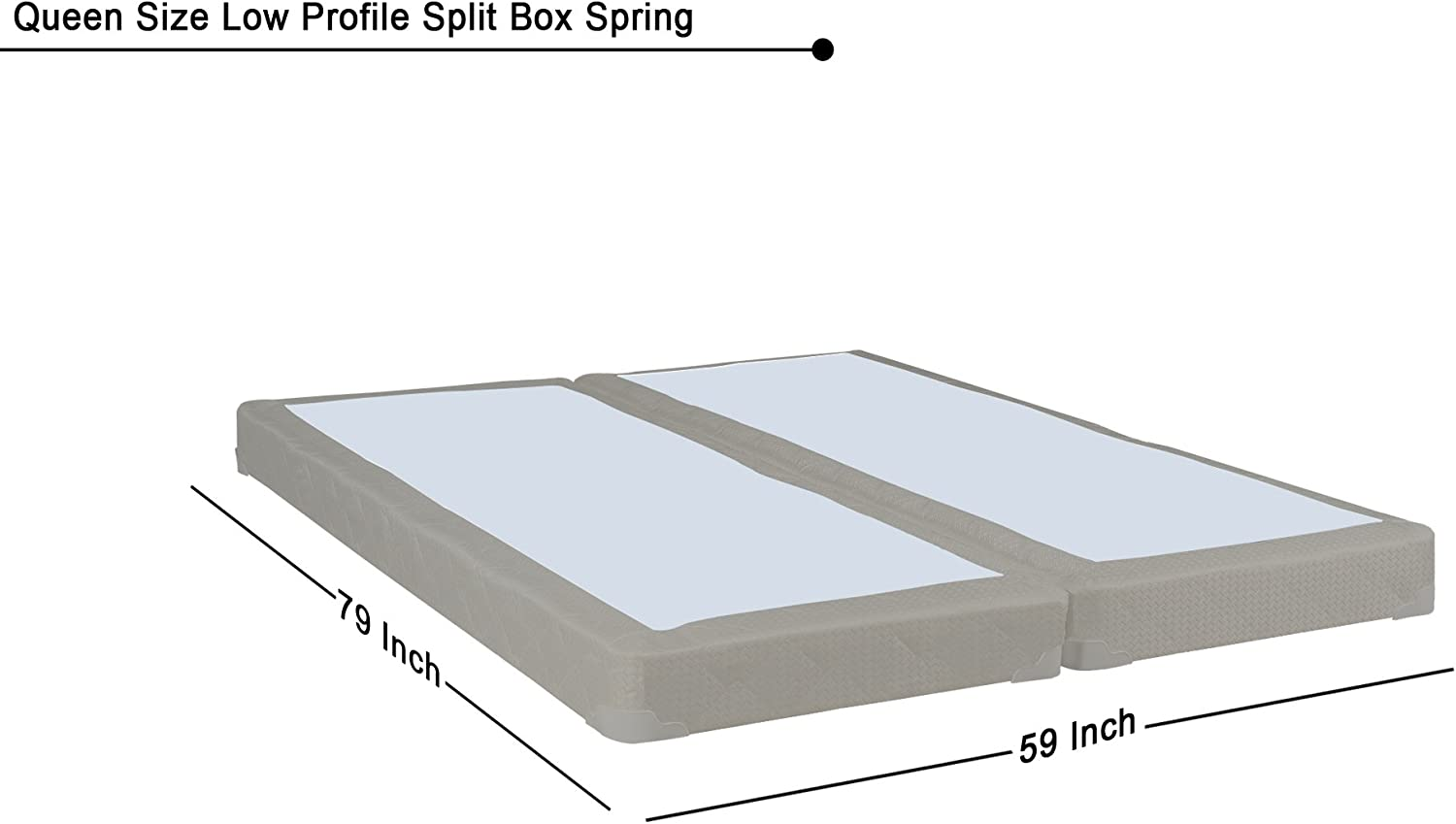White//Gold Twin XL Size Greaton Fully Assembled Split Wood BoxSpring//Foundation For Mattress