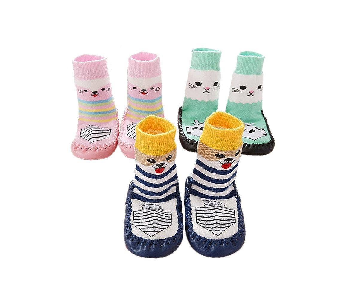 3 Pairs Baby Slipper Socks OKPOW Baby Girls Socks Toddler Cotton Socks Anti-slip Socks for 0-2 Years Old Baby