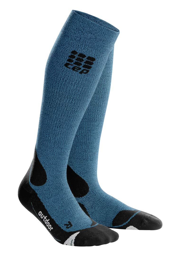 CEP Womens Long Compression Wool Socks Outdoor Merino (Desert Sky/Black) 4 by CEP