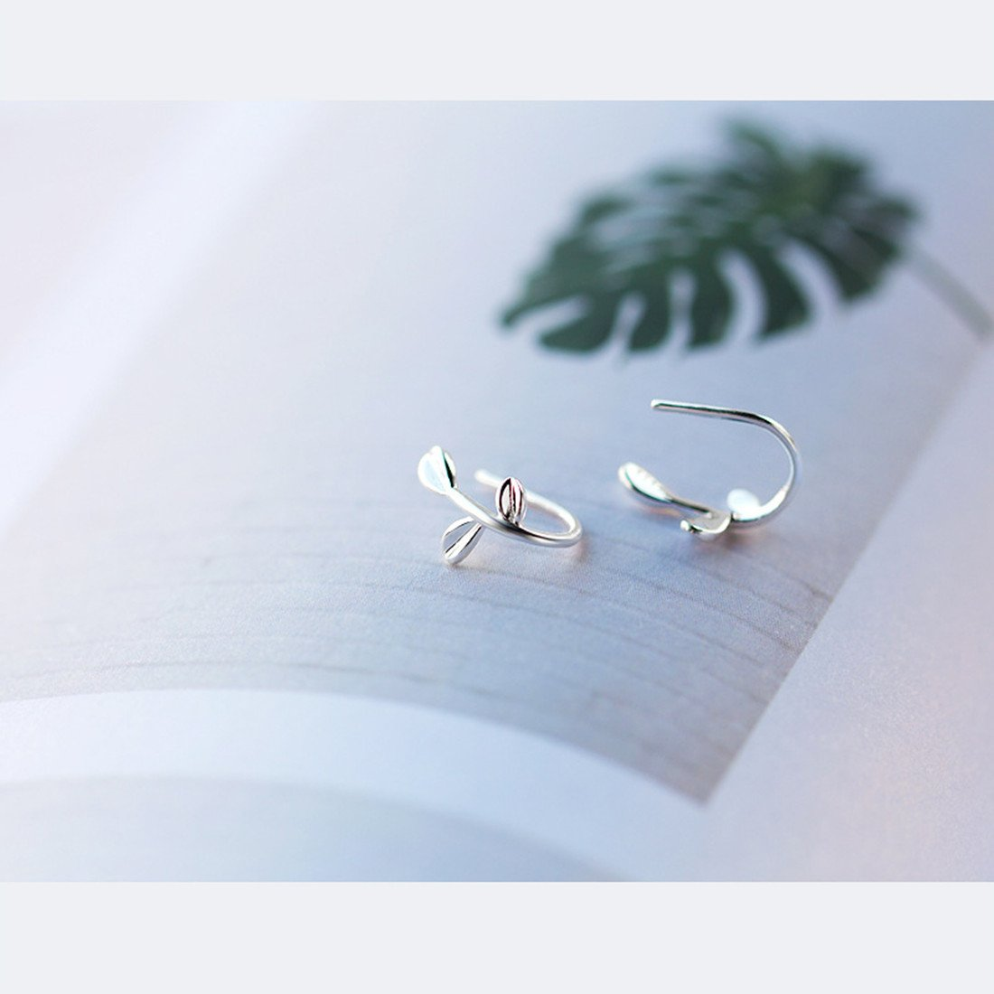 Leaf Earrings Sterling Silver Leaf Hook Earrings Olive Leaf Ear Clip for Women by DOMILINA (Image #3)