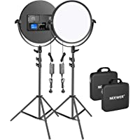 Neewer 2-Pack Metal 10.6 inches Round LED Video Light with Stand Lighting Kit, 30W 3200-5600K CRI95+ Dimmable Studio…