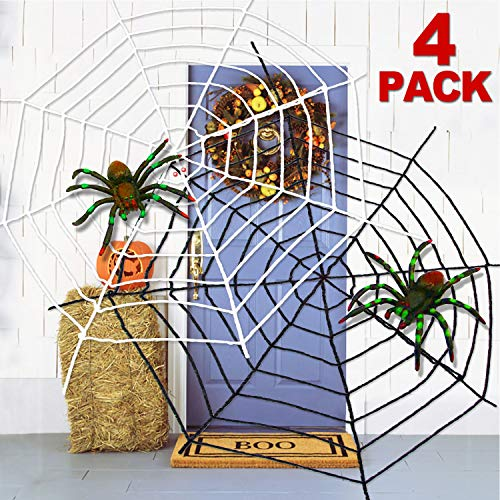 Black And White Spider - 4Pack Spider Webs Halloween Decorations Outdoor
