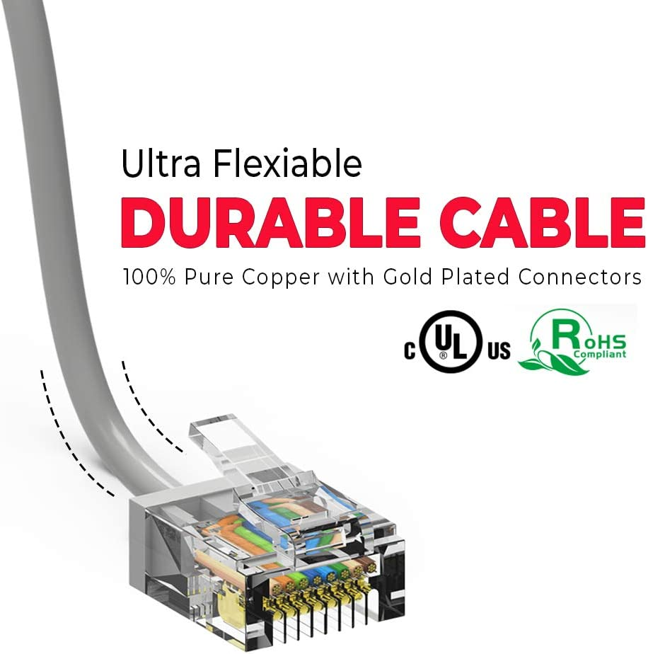 50-Pack - 5 Feet 10 Gigabit//Sec High Speed LAN Internet//Patch Cable 550MHz Red GOWOS Cat6a Super Slim Ethernet Cable 32AWG Network Cable with Gold Plated RJ45 Non-Booted Connector