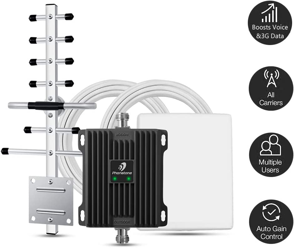 Cell Phone Signal Booster for Home and Office Use - Band 2/5 Cellular Repeater Kit Boosts Verizon, AT&T, T-mobile GSM 3G Voice, Call and Text Up to 4,500 Sq Ft. Support Multi Devices. (850/1900MHz)