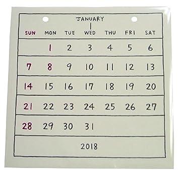 amazon もだ 2018年 basic calendar レフィル cd 0995 カレンダー