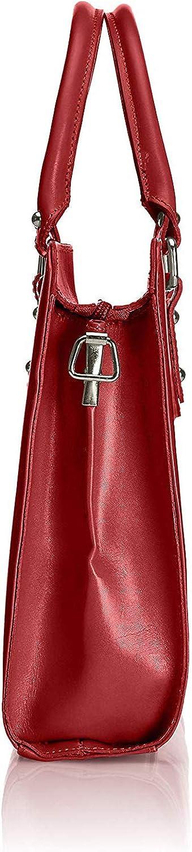 Chicca Borse Borsa a mano da donna portadocumenti con tracolla trama liscia 35 x 26 x 11 cm - Mod. Miriam Rosso