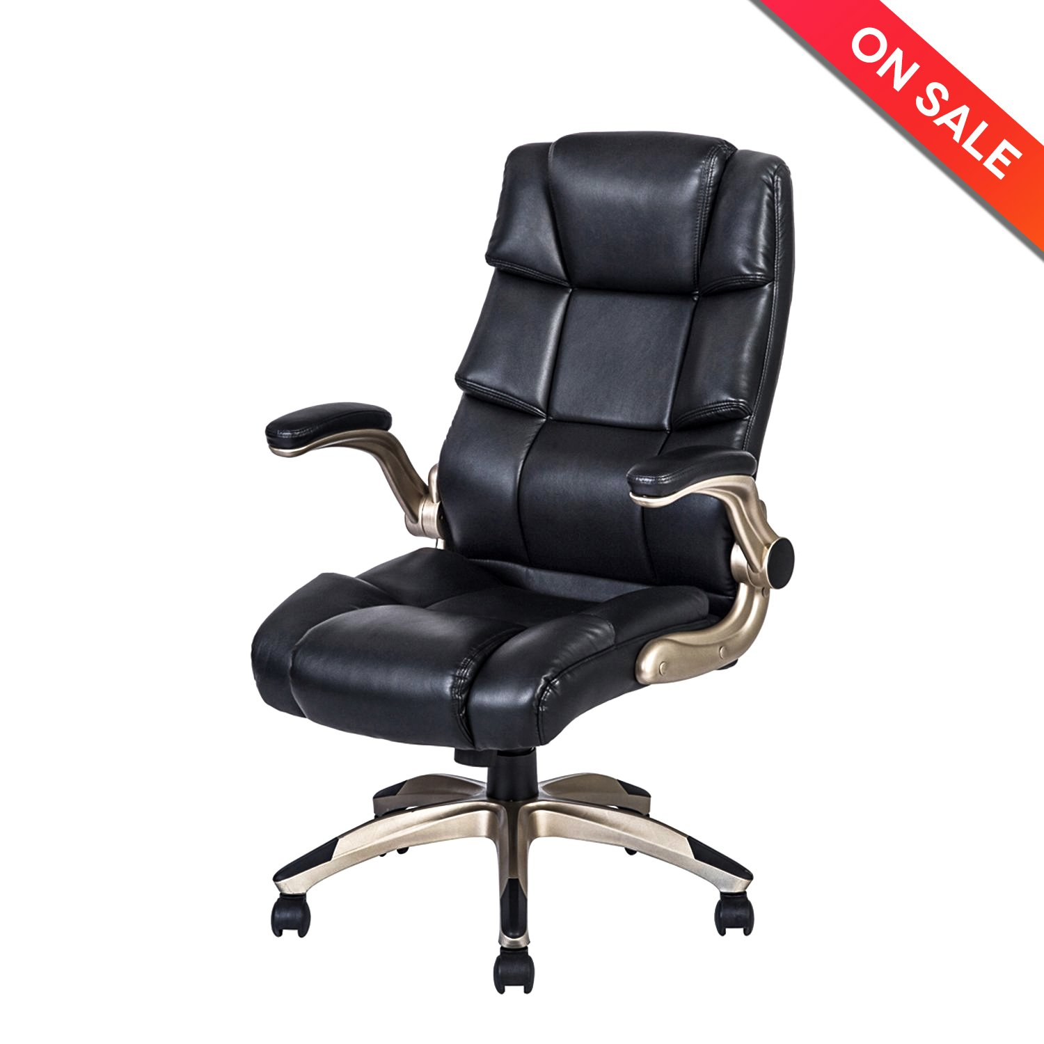 LCH Ergonomic High Back Leather Office Chair - Adjustable Padded Flip-Up Arms Executive Computer Desk Chair (BIMFA Certified)