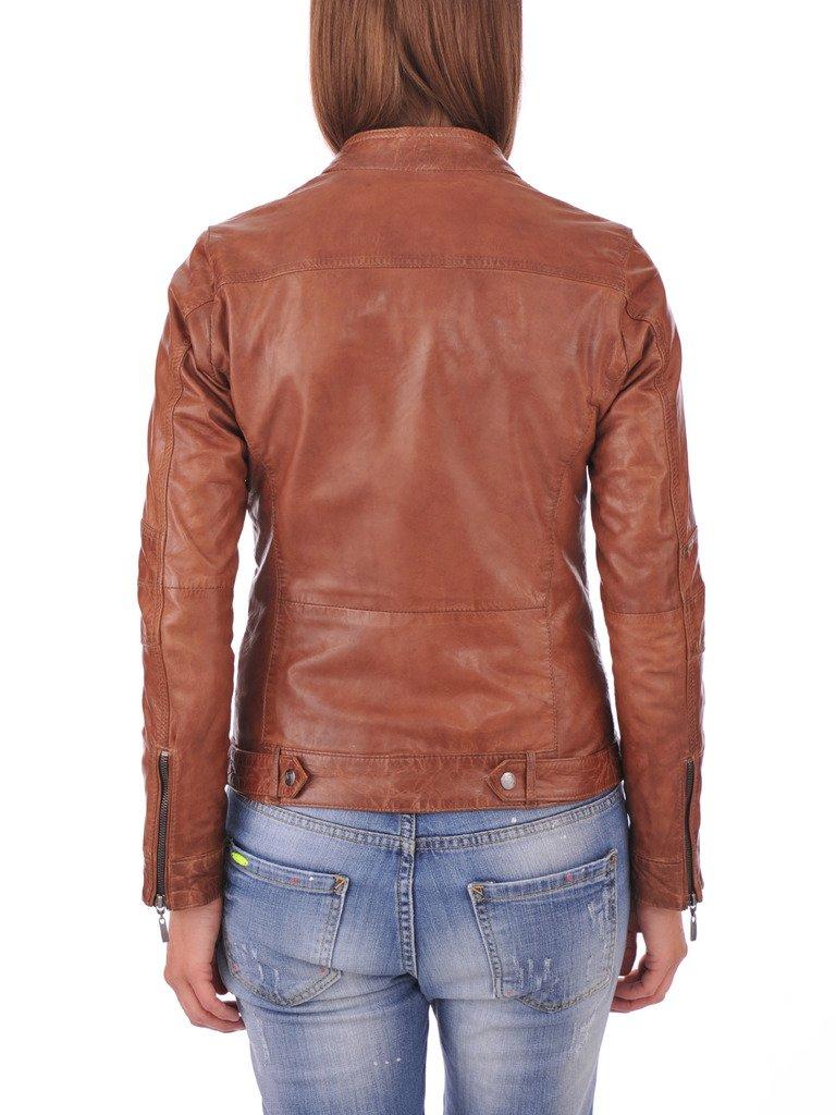 FS Lambskin Leather Women's Bomber Biker Jacket Small Brown by Fashion Store (Image #3)