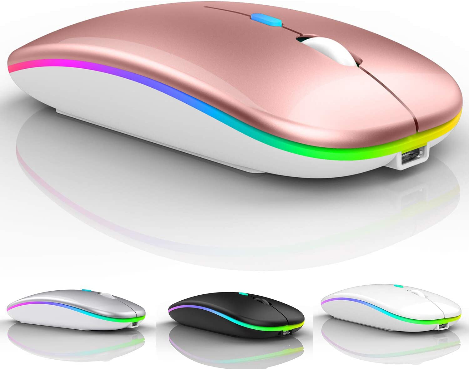 LED Wireless Mouse,Wireless Mouse for MacBook pro/air/pc/Laptop,2.4G Portable USB Optical Wireless Computer Mice with USB Receiver and Type C Adapter (Rose Gold)