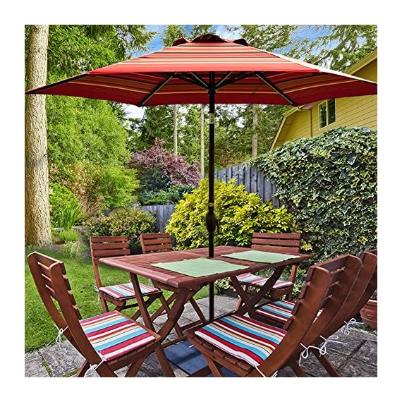"""Abba Patio Striped Patio 9-Feet Outdoor Market Table Umbrella with Push Button Tilt and Crank, 9', Red - 100% post-consumer recycled polyester fabric- fade resistant, water repellent, UV protection. Solution-dyed polyester tested for a minimum of 1000 hours UV colorfastness 9 ft. Diameter-shade your 42""""- 54"""" Round, square or rectangle table with 4 to 6 chairs, ideal for both residential and commercial spaces Rust- Free Powder Coated Aluminum Pole and Steel Ribs -1. 5"""" diameter Aluminum pole provides superior strength support compared to the standard pole - shades-parasols, patio-furniture, patio - 61brcbsQUdL. SS570  -"""
