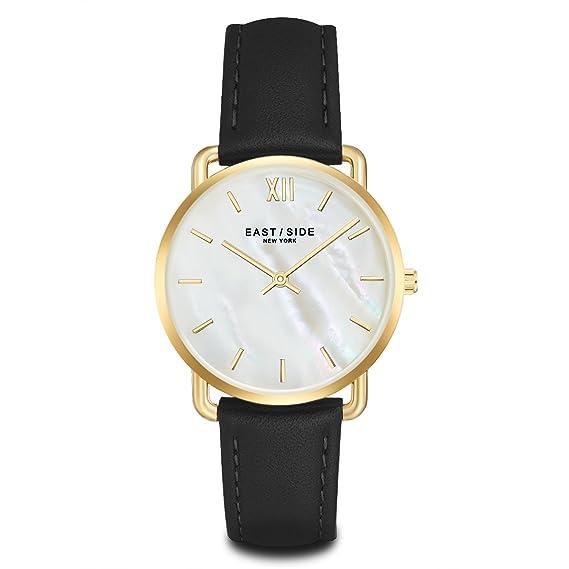 Eastside Mujer Reloj Acero Inoxidable Gelbgold piel negro nácar 3 ATM – Reloj de cuarzo para