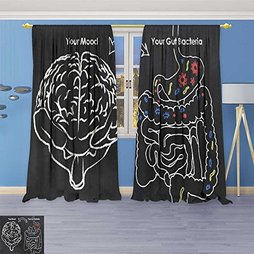 SOCOMIMI Room Darkening Window Curtains,Mood and Gut Bacteria Back Tab, Set of Two Panels 120W x 72L inch